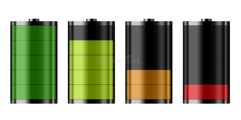 Fyra olika batterinivåer av batteri laddar, batteriet är låga vektor illustrationer