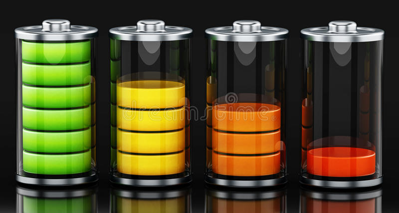 Fyra olika batterinivåer illustration 3d royaltyfri illustrationer