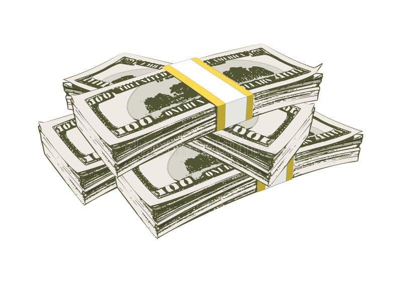 Fyra packar av pengar hundra dollarräkningar royaltyfri illustrationer