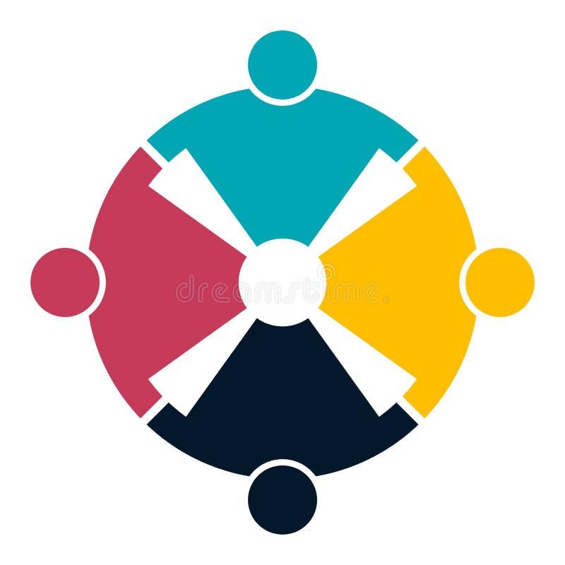 Fyra personer i händer för ett cirkelinnehav Toppmötearbetarna möter i det samma maktrummet royaltyfri illustrationer