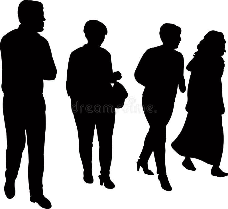 Fyra personer som tillsammans går, konturvektor royaltyfri illustrationer