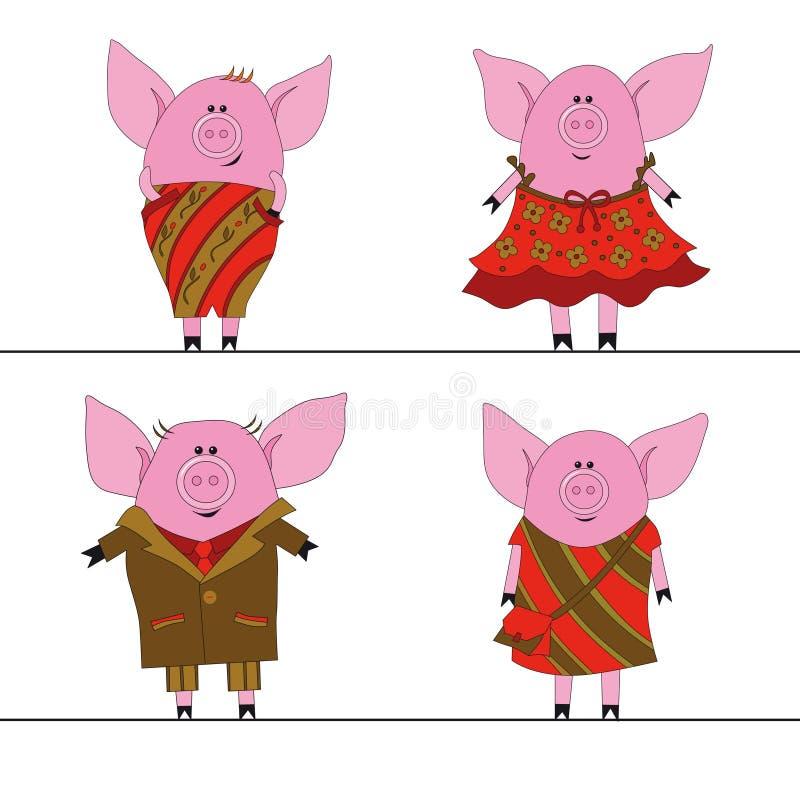 fyra pigs vektor illustrationer