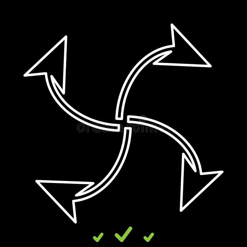 Fyra pilar i ögla från mitt är det den vita symbolen vektor illustrationer