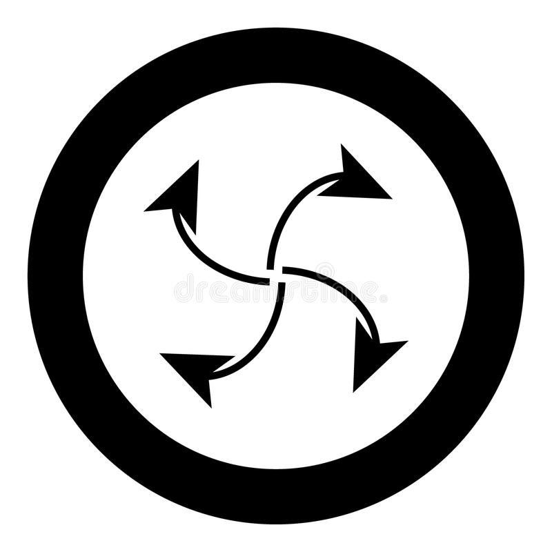 Fyra pilar i ögla från mitt svärtar symbolen i cirkel stock illustrationer