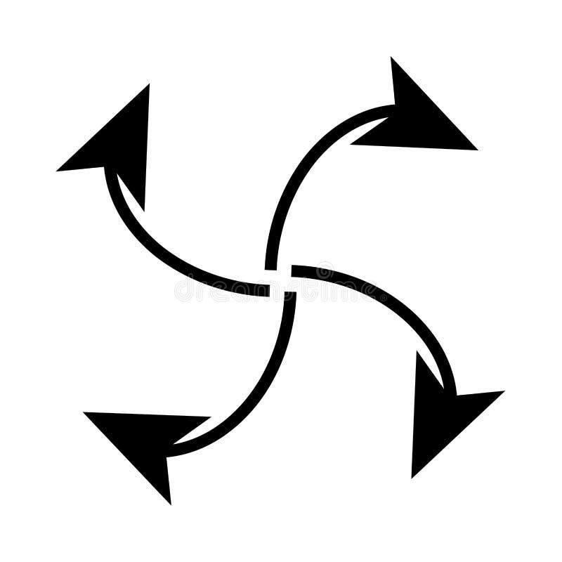Fyra pilar i ögla från mittsvartsymbol vektor illustrationer