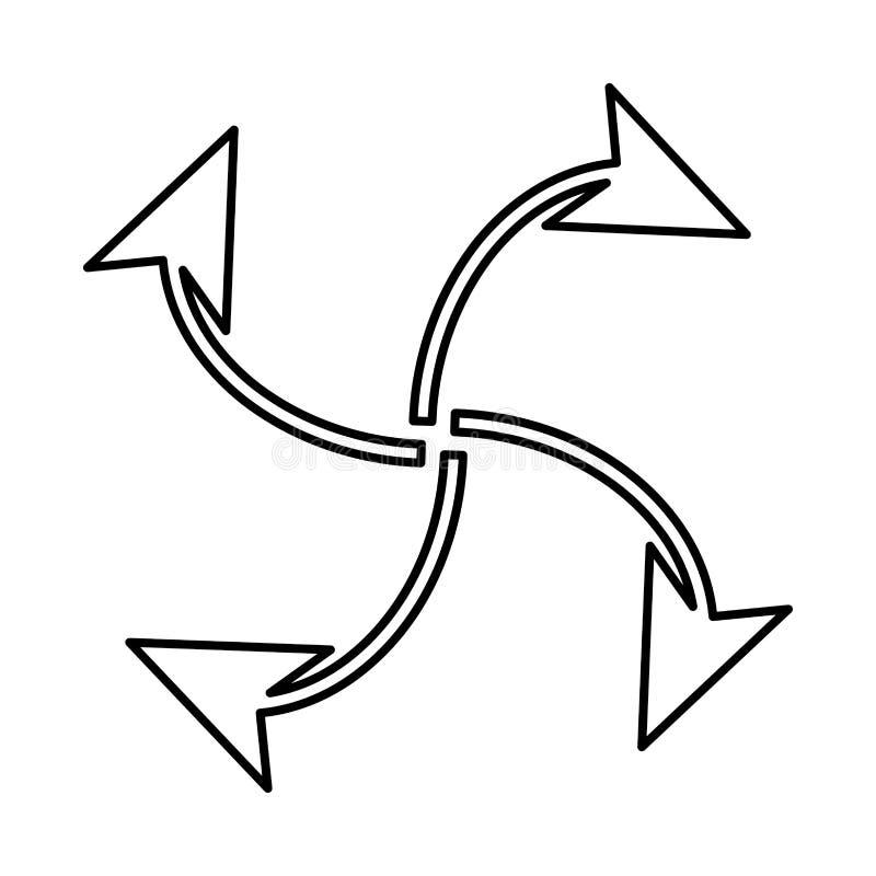 Fyra pilar i ögla från mittsvartsymbol royaltyfri illustrationer