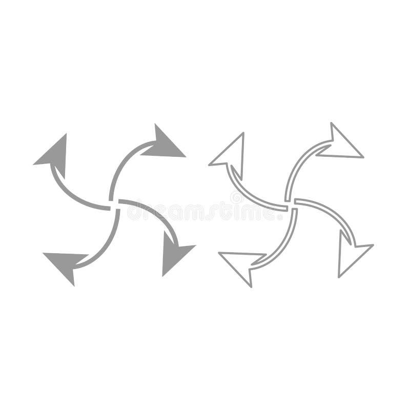 Fyra pilar i ögla från mittsymbol Grå färguppsättning stock illustrationer