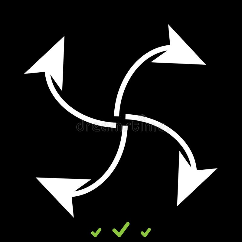 Fyra pilar i ögla från mittvitsymbol stock illustrationer