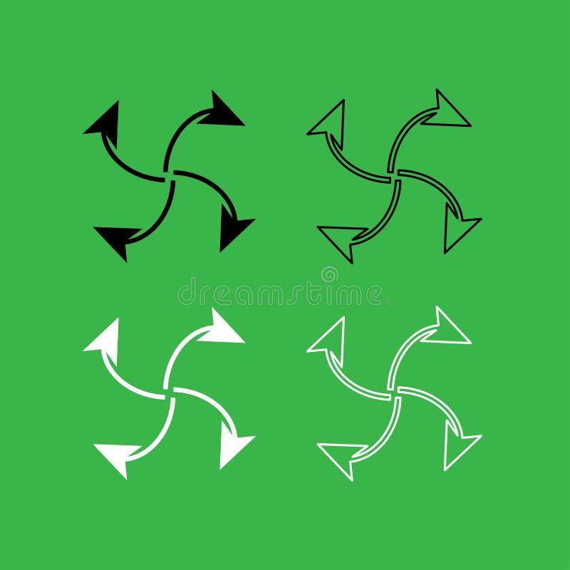 Fyra pilar i ögla från uppsättning för färg för mittsymbol svartvit vektor illustrationer