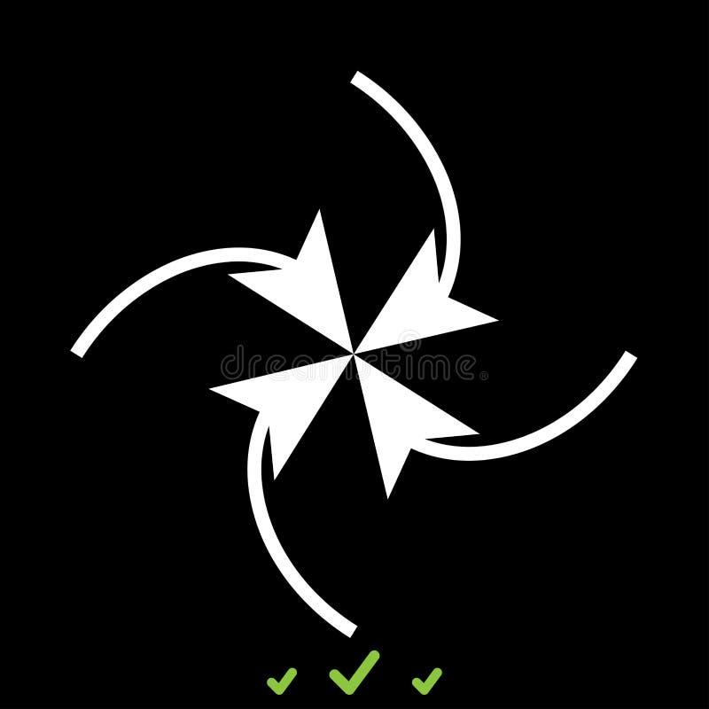 Fyra pilar i ögla i mitt är det den vita symbolen royaltyfri illustrationer