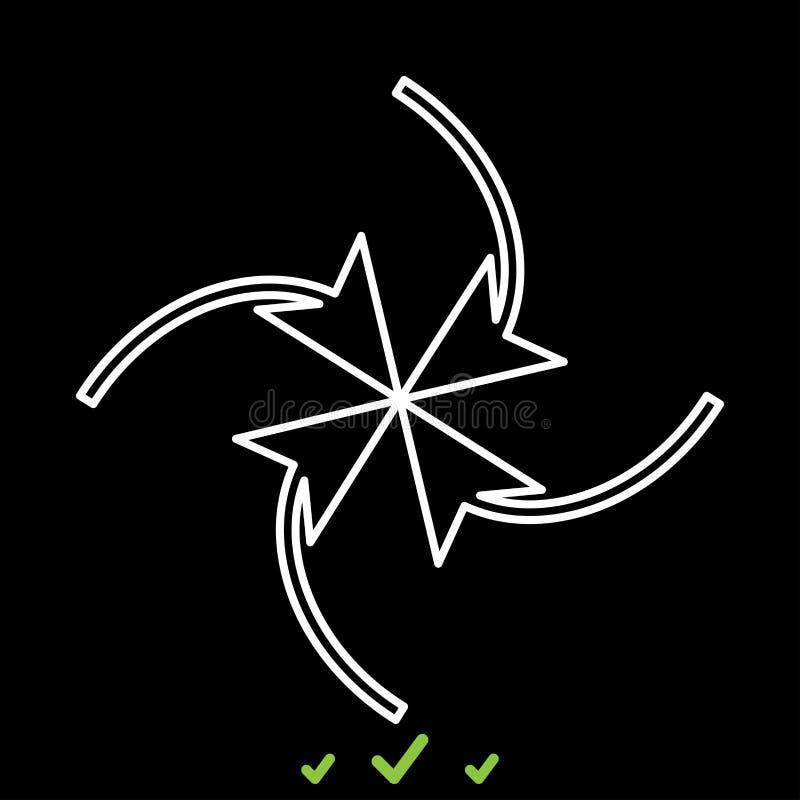 Fyra pilar i ögla i mitt är det den vita symbolen vektor illustrationer