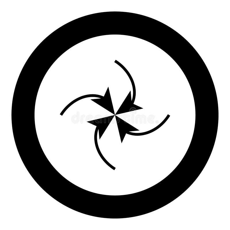 Fyra pilar i ögla i mitt svärtar symbolen i cirkel vektor illustrationer