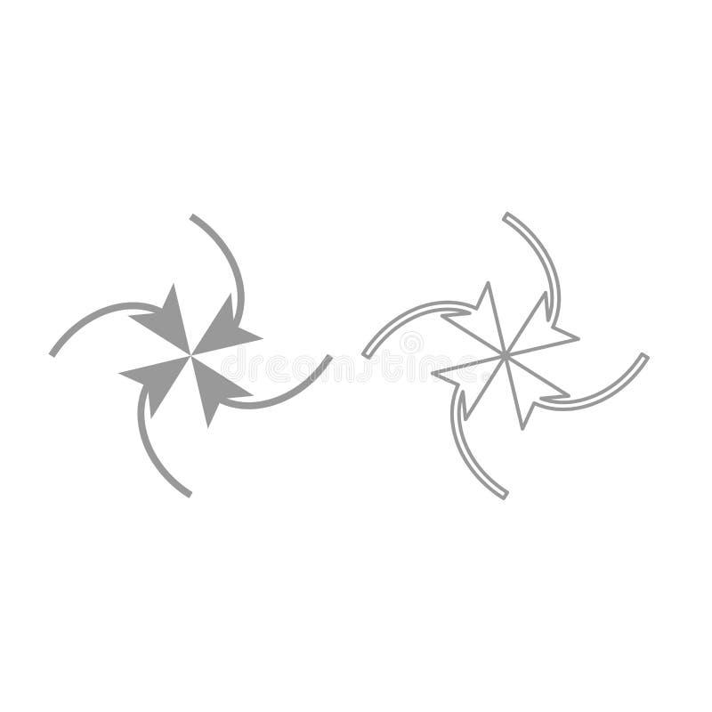 Fyra pilar i ögla i mittsymbol Grå färguppsättning vektor illustrationer
