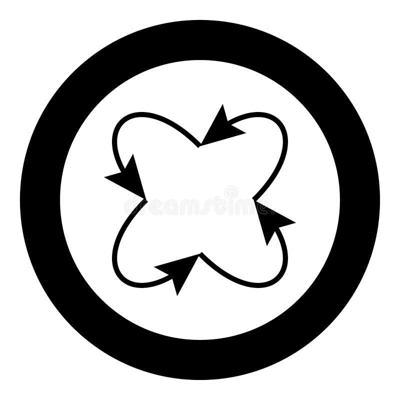 Fyra pilar i ögla i och från mitt svärtar symbolen i cirkel stock illustrationer