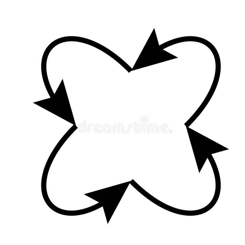 Fyra pilar i ögla i och från mittsymbol vektor illustrationer