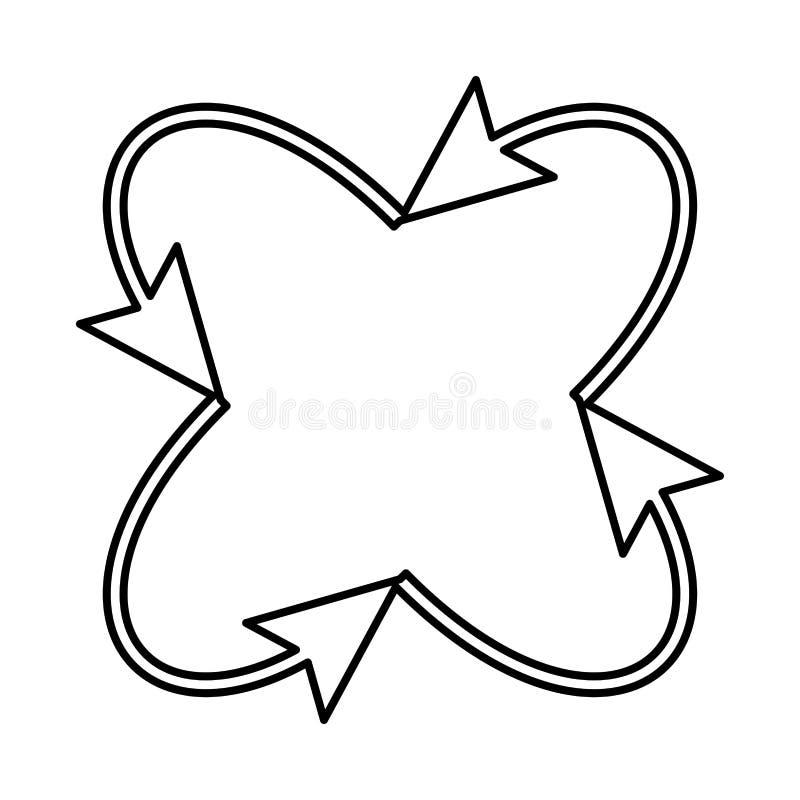 Fyra pilar i ögla i och från mittsymbol stock illustrationer