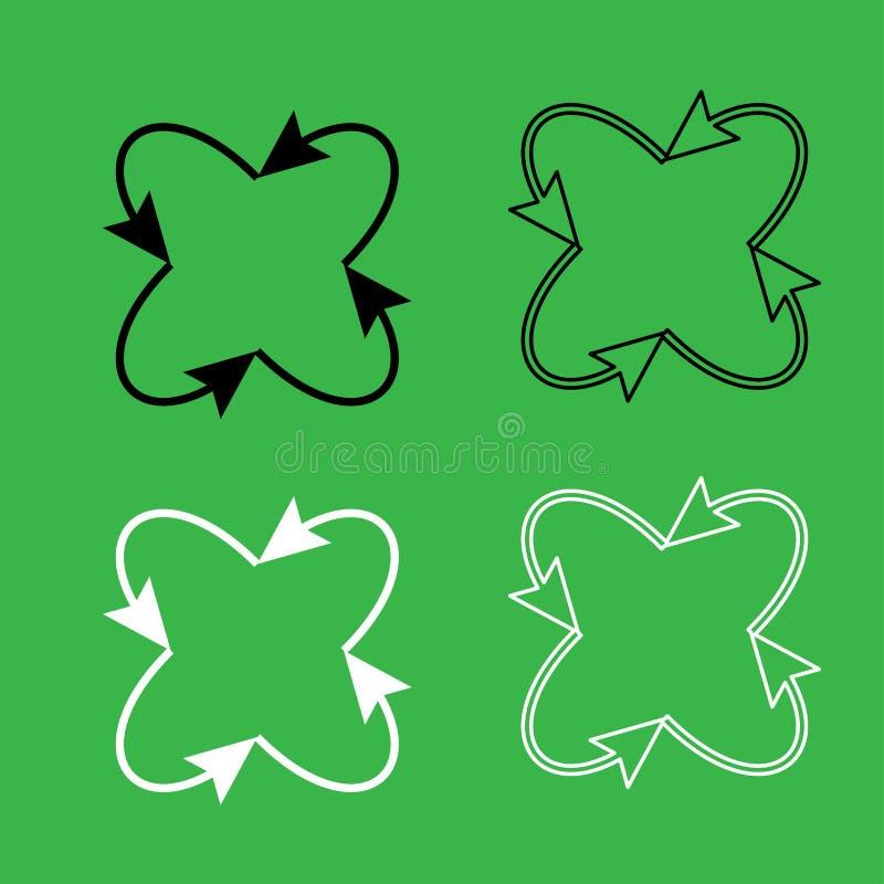 Fyra pilar i ögla i och från uppsättning för färg för mittsymbol svartvit vektor illustrationer
