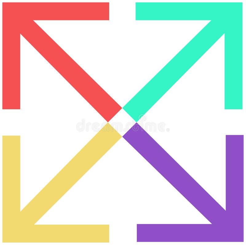 Fyra pilar, lägenhetfärgsymbol arkivbilder