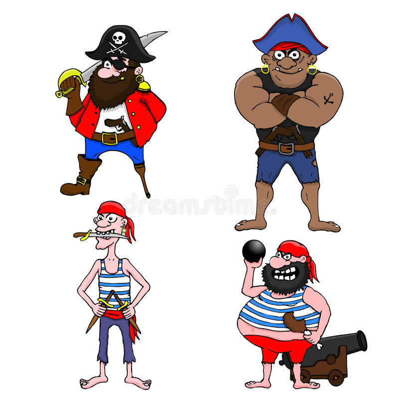fyra piratkopierar stock illustrationer