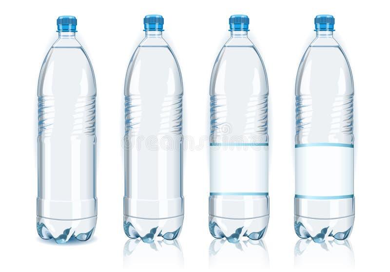 Fyra plastic flaskor med generiska etiketter stock illustrationer