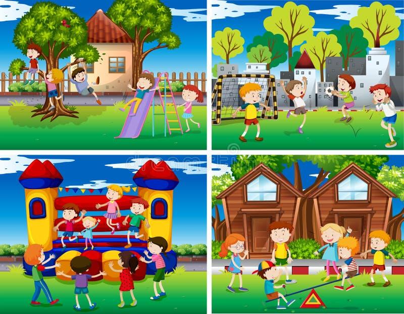 Fyra platser av barn som spelar i parkera royaltyfri illustrationer