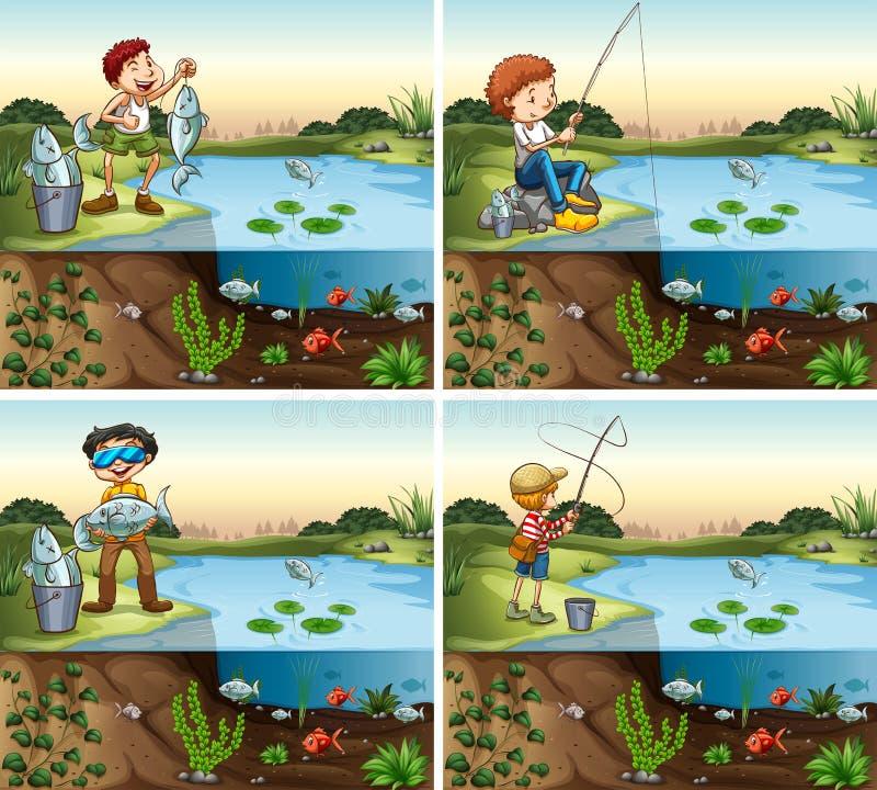 Fyra platser av pojkefiske i dammet vektor illustrationer