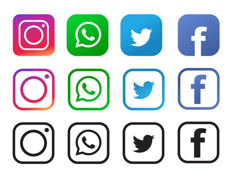Fyra populära sociala massmediasymboler som isoleras på vit bakgrund vektor illustrationer