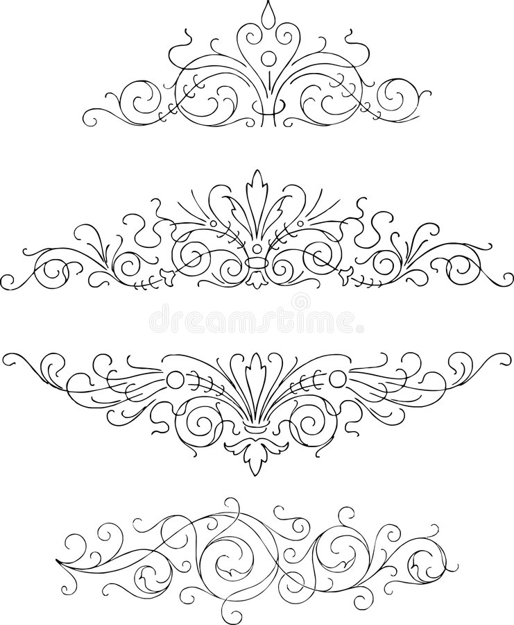 fyra prydnadar royaltyfri illustrationer