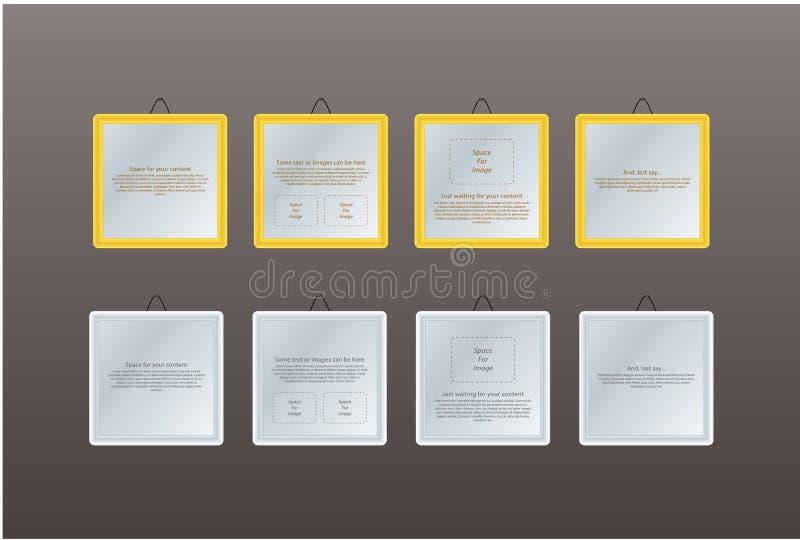 Fyra ramar med utrymme upplysningsvis. royaltyfri illustrationer