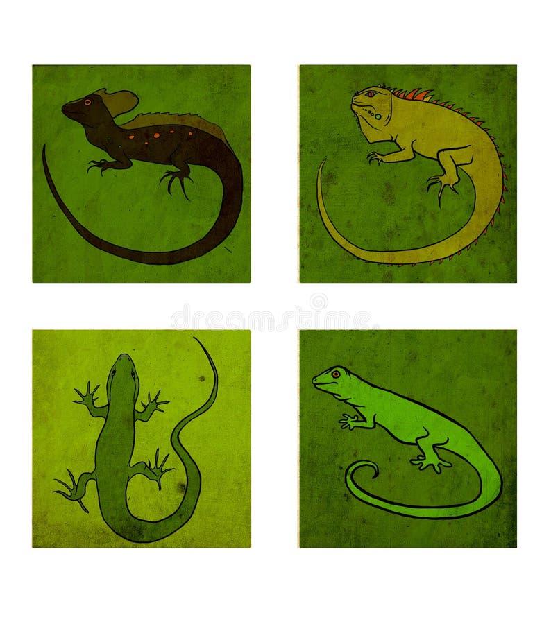 Fyra reptilar vektor illustrationer