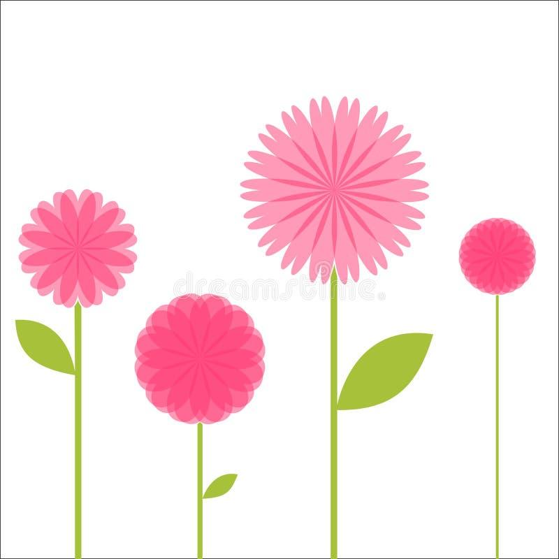 Fyra rosa blommor stock illustrationer