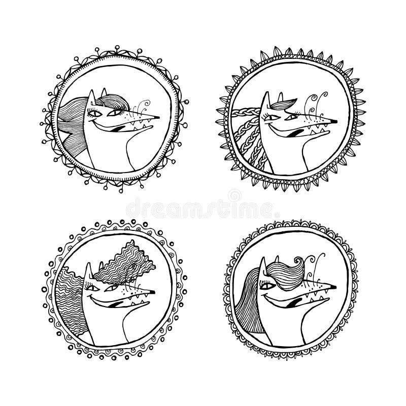 Fyra runda ramar med den vita räven med frisyrer Svartvita diagram, kan du använda i företags stil eller utskrivavna produkter vektor illustrationer