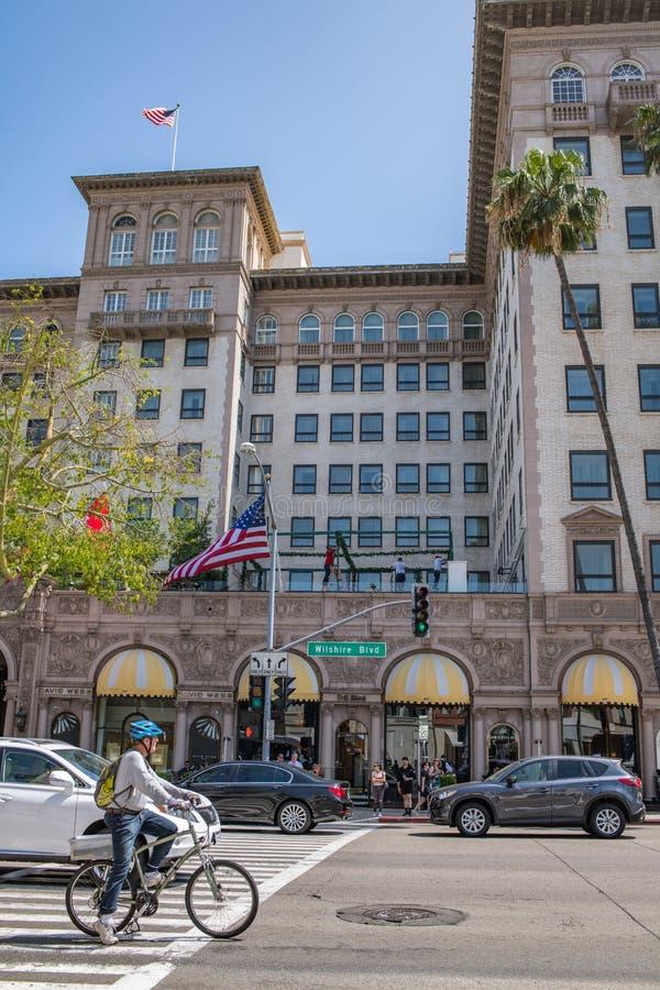 Fyra säsonger Beverly Wilshire Hotel arkivbild