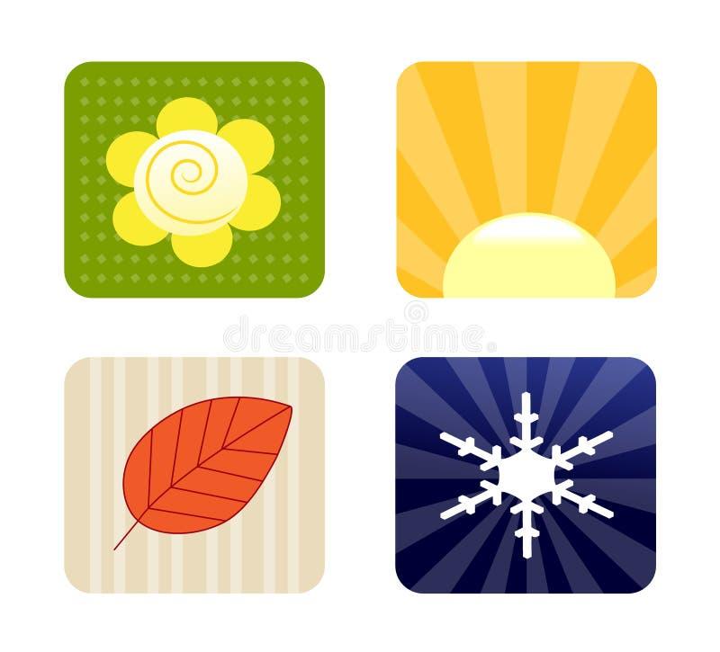 Fyra säsongsymboler royaltyfri illustrationer