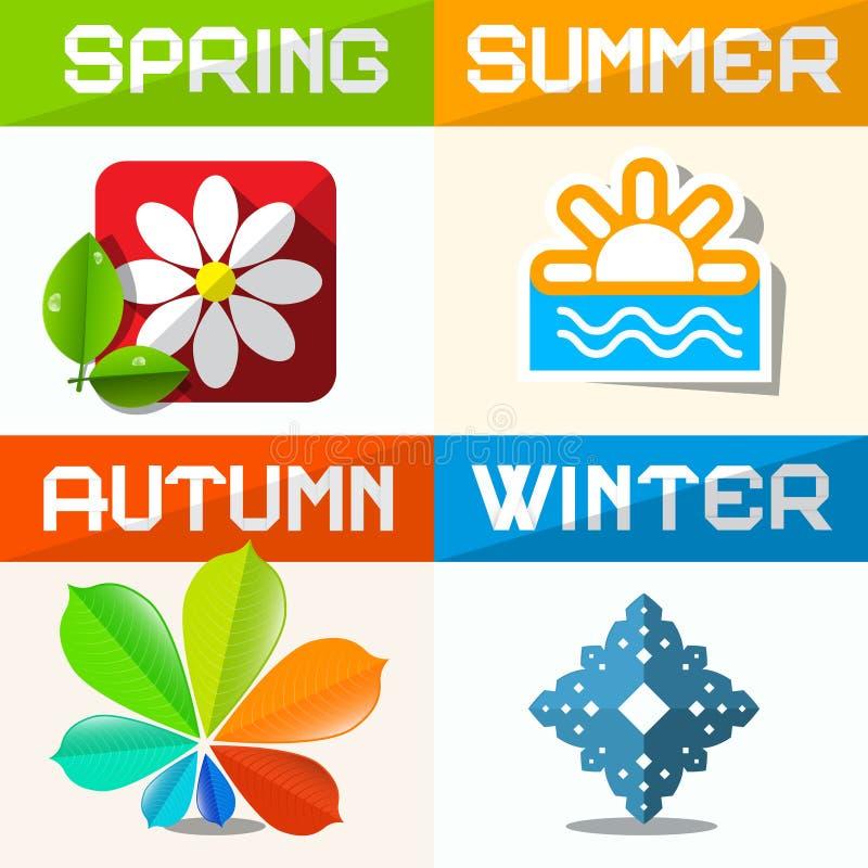 Fyra säsongsymboler stock illustrationer