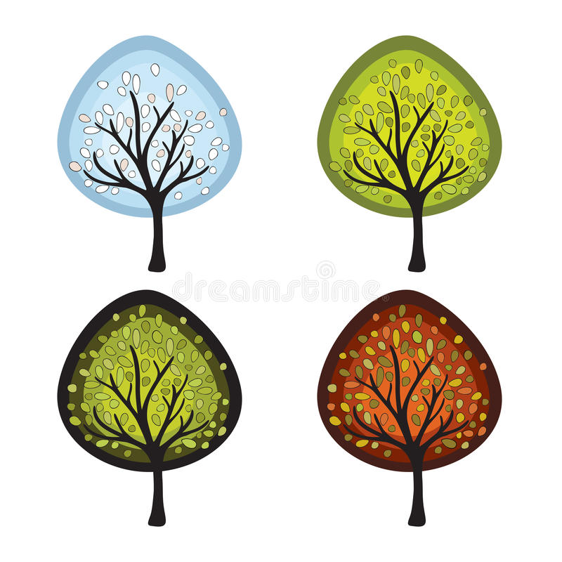 fyra säsongtrees vektor illustrationer