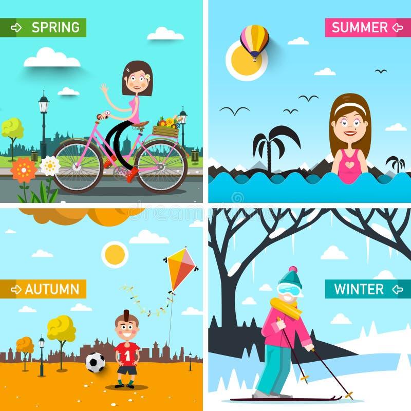 Fyra säsongvektorlandskap med folk vektor illustrationer
