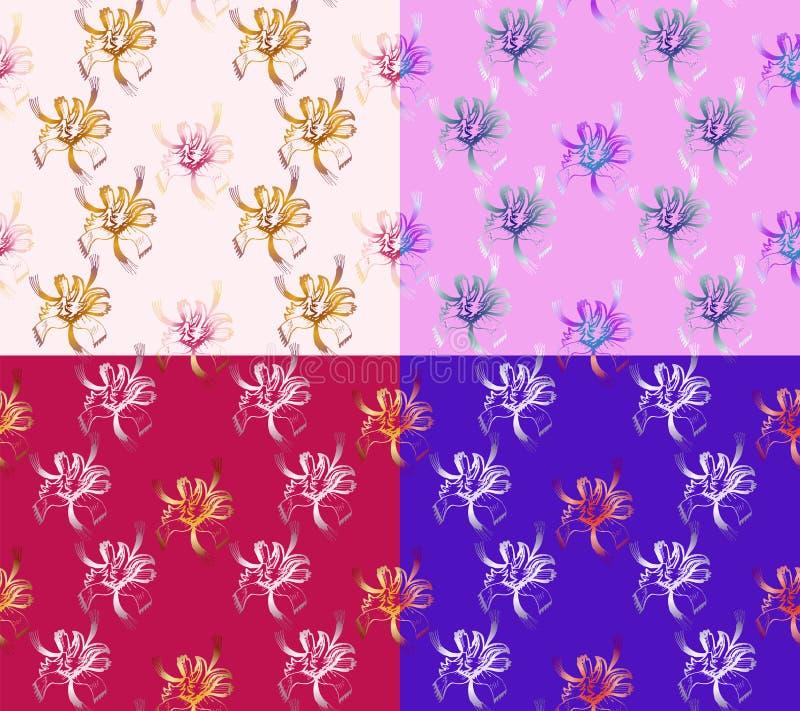 Fyra sömlösa abstrakta blom- modeller Uppsättning av bakgrunder av olika färger exklusiva garneringar royaltyfri illustrationer