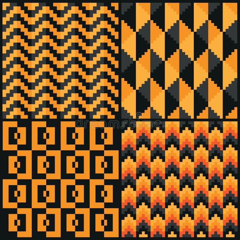 Fyra sömlösa abstrakta geomatric PIXELallhelgonaaftonmodeller stock illustrationer