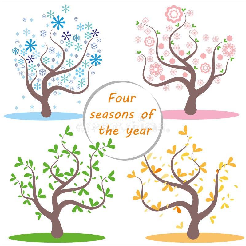 fyra s?songer Illustration av tr?det och landskapet i vintern, v?r, sommar, h?st royaltyfri illustrationer