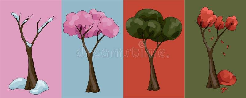 fyra s?songtrees stock illustrationer