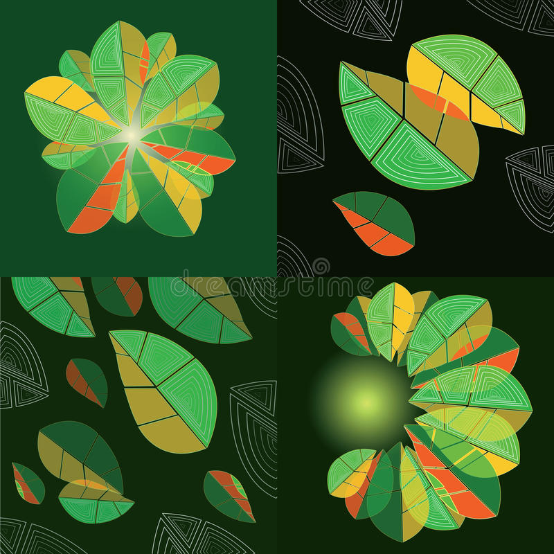 Fyra sammansättningar med abstrakta sidor royaltyfri illustrationer