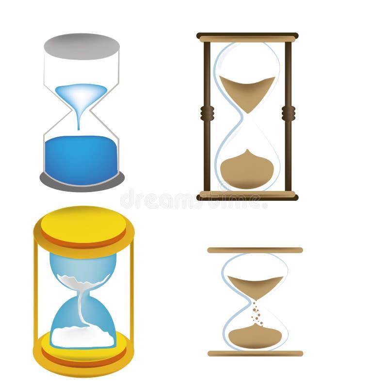 Fyra sandklockor vektor illustrationer