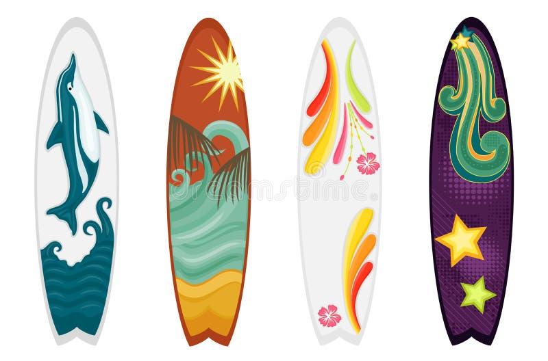fyra set surfingbrädor vektor illustrationer