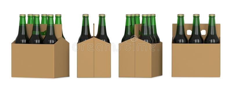 Fyra sikter av sex packe av gröna ölflaskor i kartong 3D framför, isolerat på vit bakgrund royaltyfri illustrationer