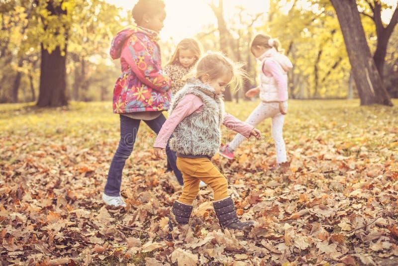 Fyra små flickor i natur arkivbilder