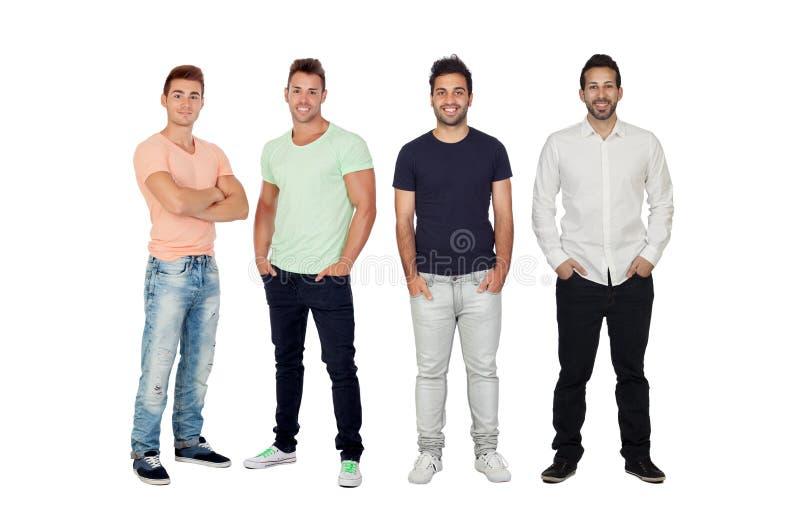 Fyra stiliga fulla män royaltyfri fotografi