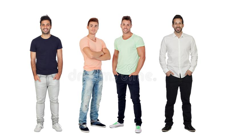 Fyra stiliga fulla män arkivbild