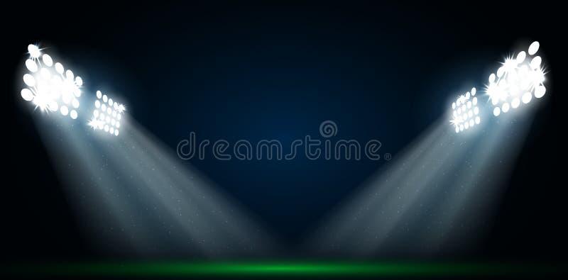 Fyra strålkastare på ett fotbollfält stock illustrationer