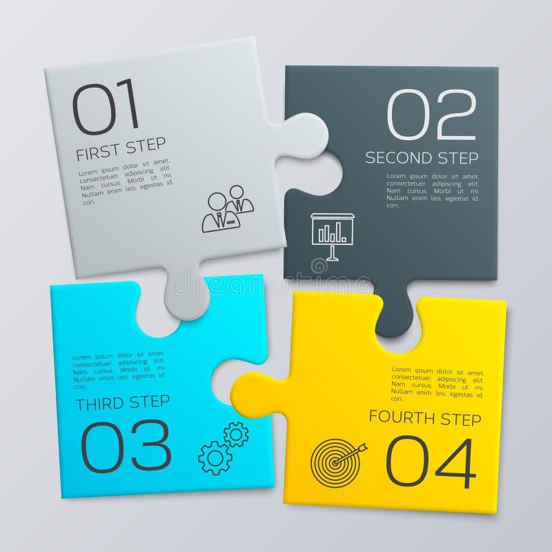 Fyra stycken pussel Modern affär som är infographic för din presentation vektor royaltyfri illustrationer